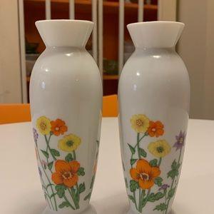 Lefton China Bud Vases Pair Mid Century Floral